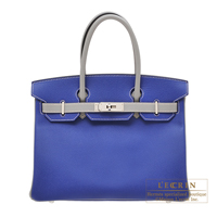 Hermes Personal Birkin bag 30 Blue electric/ Gris mouette Epsom leather Matt silver hardware