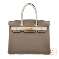 Hermes Personal Birkin bag 30 Etoupe grey/Craie Togo leather Matt gold hardware