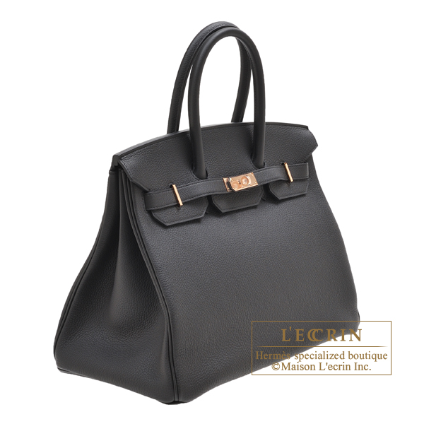 Hermes Birkin bag 35 Black Togo leather Rose gold hardware