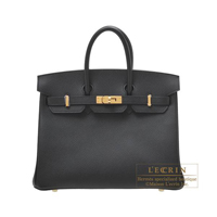 Hermes Personal Birkin bag 25 Black Epsom leather Gold hardware