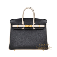 Hermes Personal Birkin bag 25 Black/Craie Togo leather Matt gold hardware