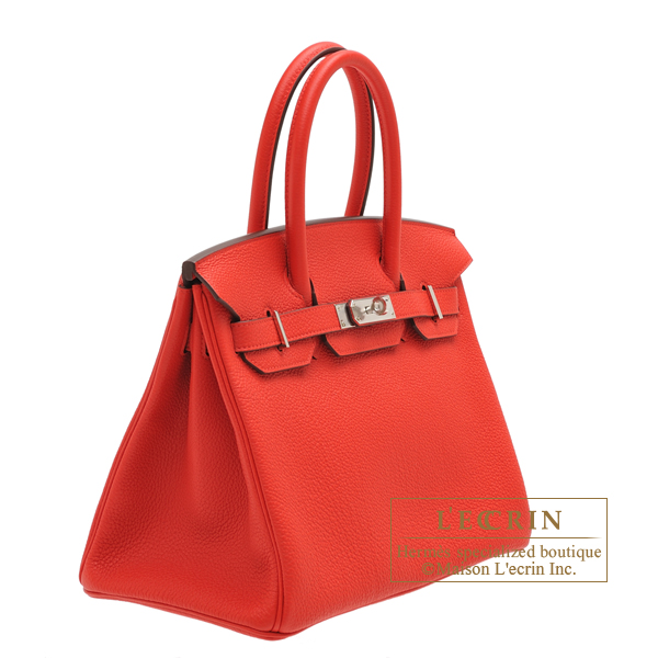 Hermes Birkin bag 30 Rouge coeur Togo leather Silver hardware