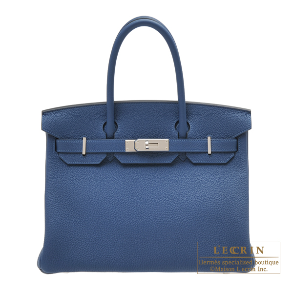Hermes Birkin bag 30 Deep blue Togo leather Silver hardware