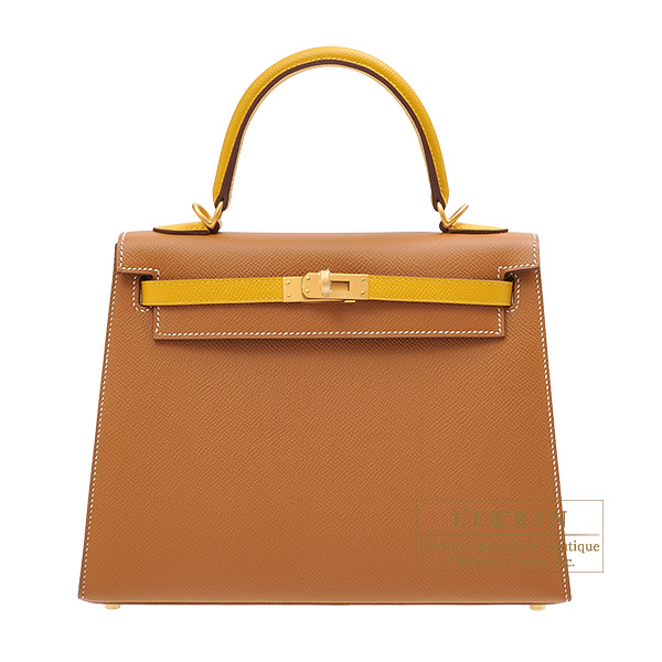 Hermes Personal Kelly bag 25 Sellier Gold/ Jaune ambre Epsom leather Matt gold hardware