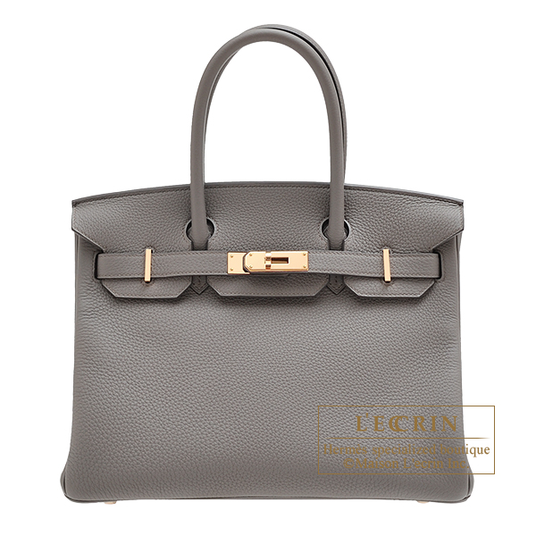 Hermes Birkin bag 30 Etain Togo leather Rose gold hardware