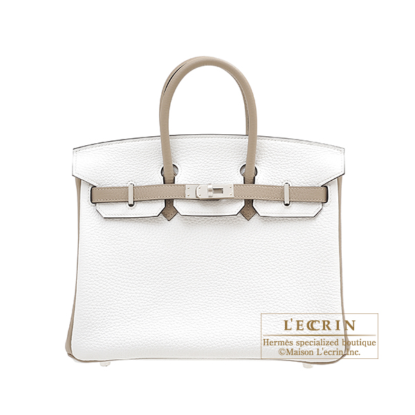 Hermes Personal Birkin bag 25 White/ Gris tourterelle Clemence leather Matt silver hardware
