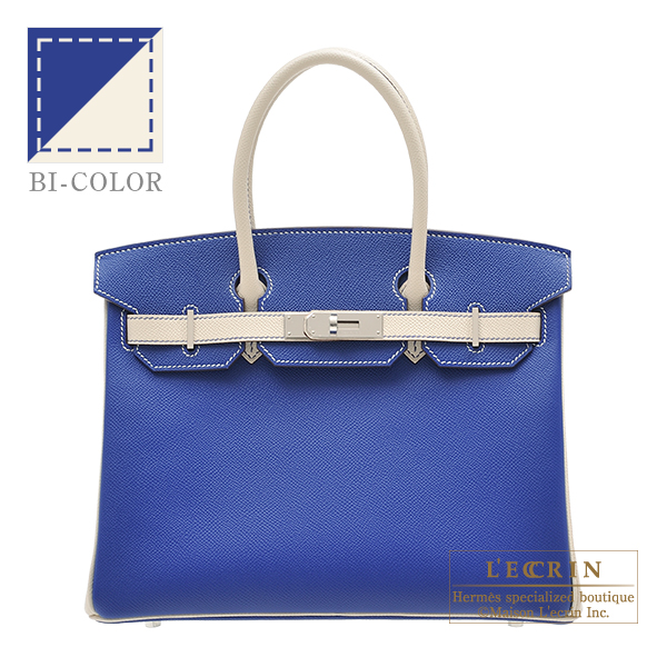 Hermes Personal Birkin bag 30 Blue electric/ Craie Epsom leather Silver hardware