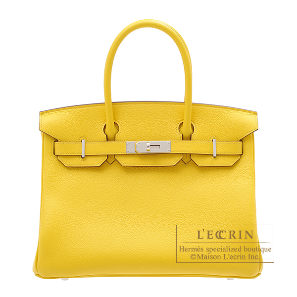 Hermes Birkin bag 30 Jaune de naples Novillo leather Silver hardware