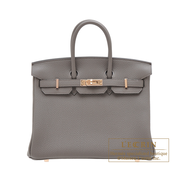 Hermes Birkin bag 25 Etain Togo leather Rose gold hardware