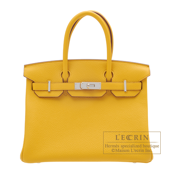 Hermes Birkin bag 30 Jaune ambre Clemence leather Silver hardware