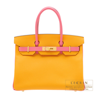 Hermes Personal Birkin bag 30 Jaune d'or/ Rose azalee Epsom leather Matt gold hardware