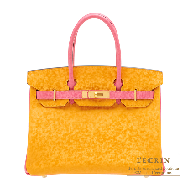 Hermes Personal Birkin bag 30 Jaune d'or/Rose azalee Epsom leather Matt gold hardware