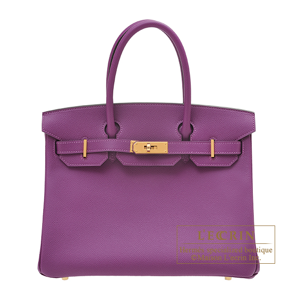 Hermes Birkin bag 30 Anemone Epsom leather Gold hardware