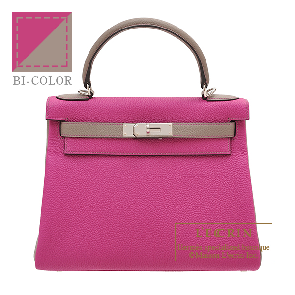 Hermes Personal Kelly bag 28 Retourne Rose purple/ Gris asphalt Togo leather Silver hardware