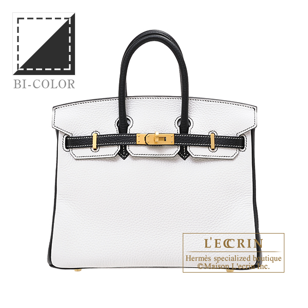 Hermes Personal Birkin bag 25 White/ Black Clemence leather Matt gold hardware