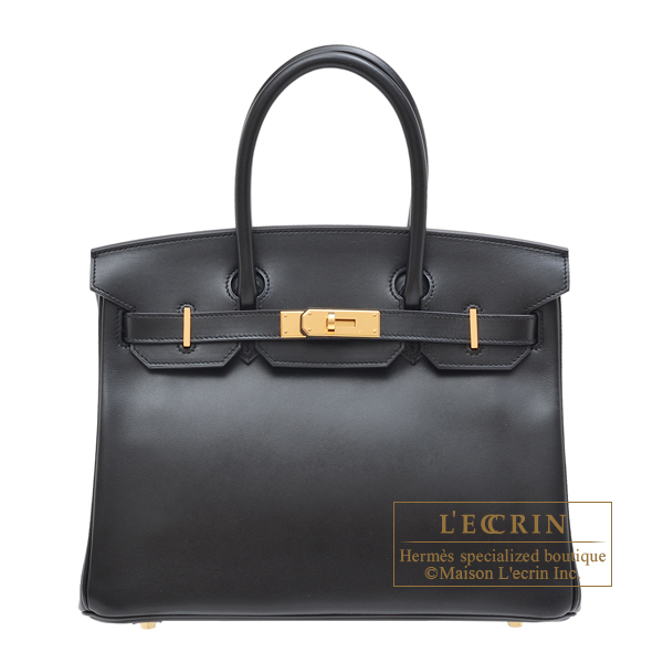 Hermes Birkin bag 30 Black Tadelakt leather Gold hardware