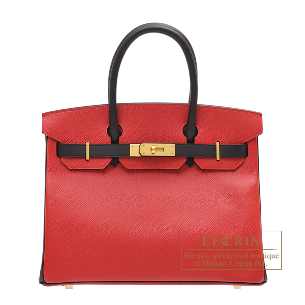 Hermes Personal Birkin bag 30 Rouge casaque/ Black Epsom leather Matt gold hardware