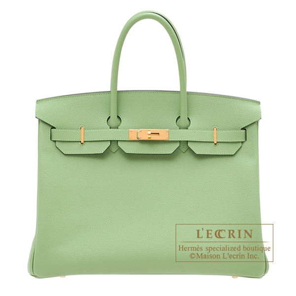 Hermes Birkin bag 35 Vert criquet Epsom leather Gold hardware