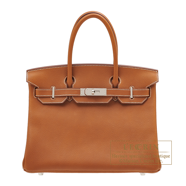 Hermes Birkin bag 30 Fauve Barenia faubourg leather Silver hardware