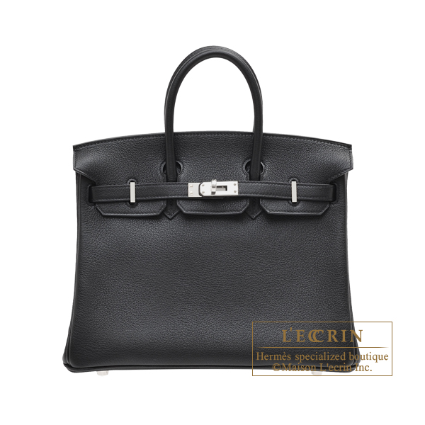 Hermes Birkin bag 25 Black Novillo leather Silver hardware
