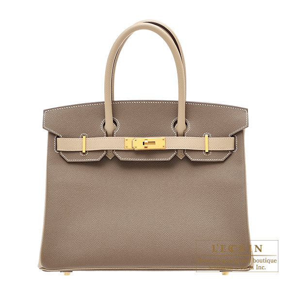 Hermes Personal Birkin bag 30 Etoupe grey/ Trench Epsom leather Matt gold hardware