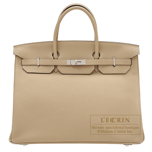 Hermes Birkin bag 40 Trench Togo leather Silver hardware