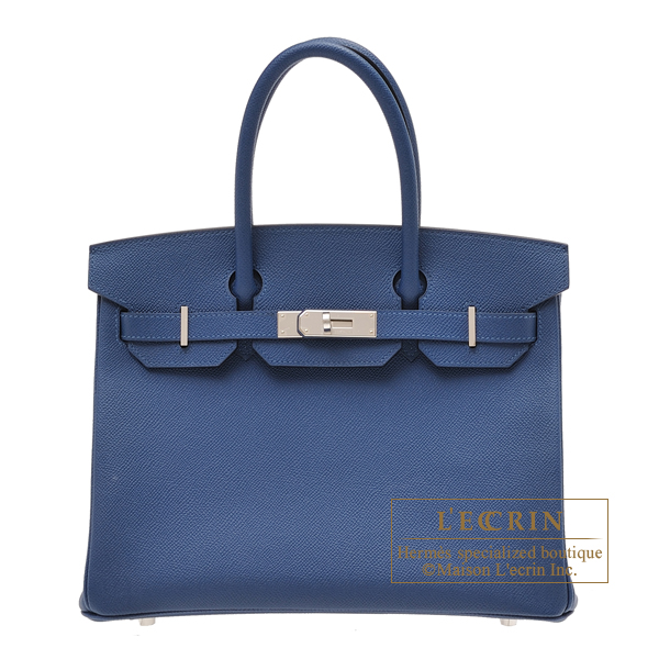 Hermes Birkin bag 30 Deep blue Epsom leather Silver hardware