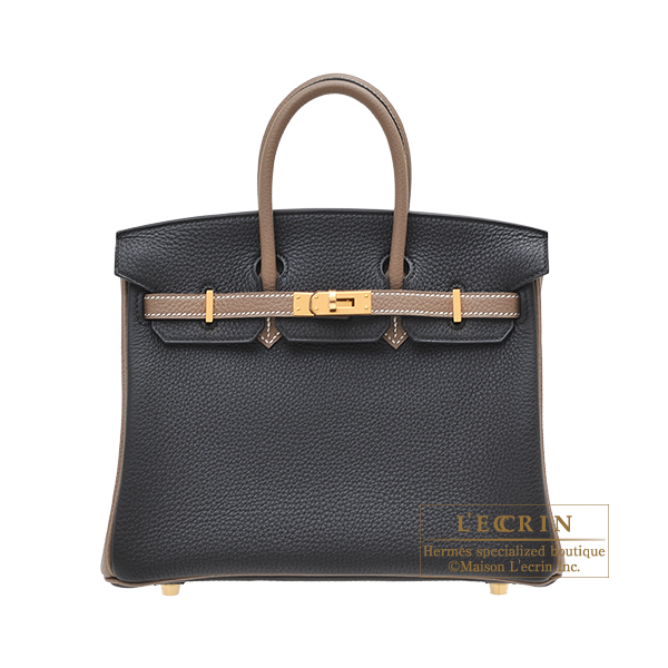 Hermes Personal Birkin bag 25 Black/ Etoupe grey Togo leather Gold hardware