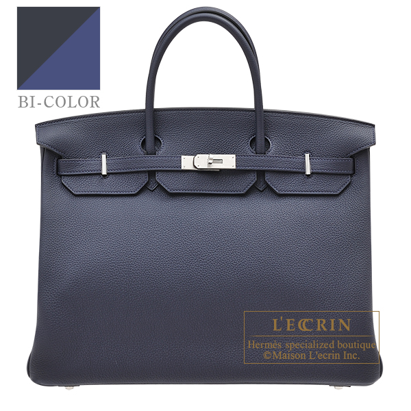Hermes Personal Birkin bag 40 Blue nuit/ Blue brighton Togo leather Matt silver hardware