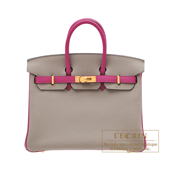 Hermes Personal Birkin bag 25 Gris asphalt/ Rose purple Togo leather Matt gold hardware