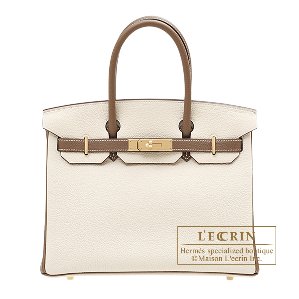 Hermes Personal Birkin bag 30 Craie/ Etoupe grey Togo leather Champagne gold hardware