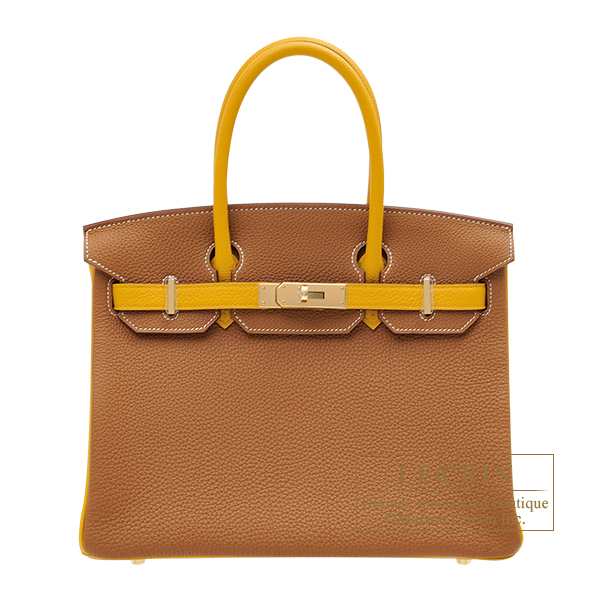 Hermes Personal Birkin bag 30 Gold/ Jaune ambre Togo leather Champagne gold hardware