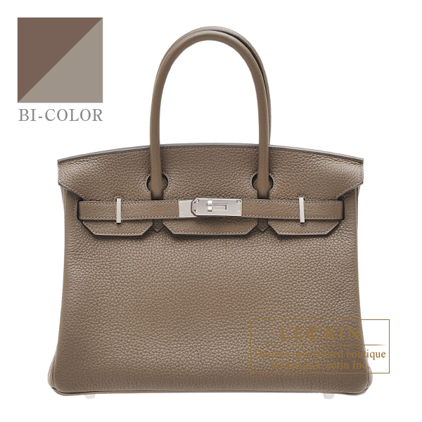 Hermes Birkin Verso bag 30 Taupe grey/ Mousse Clemence leather Silver hardware