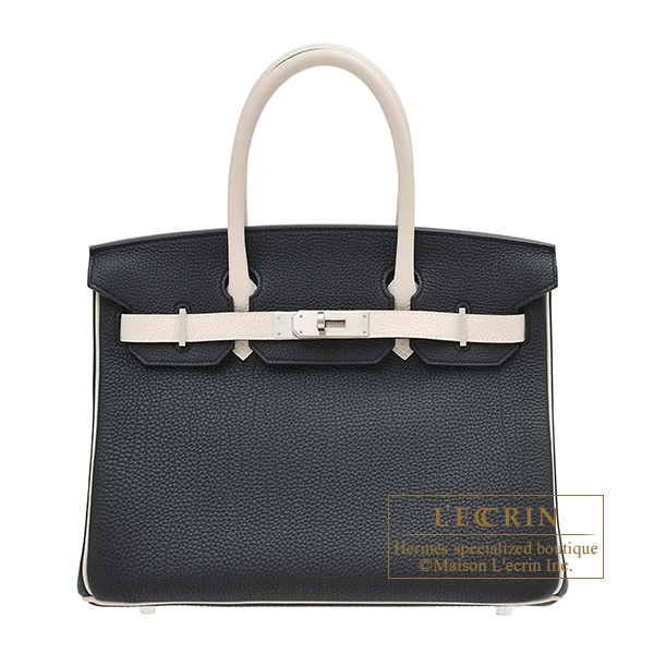 Hermes Personal Birkin bag 30 Black/Craie Togo leather Matt silver hardware