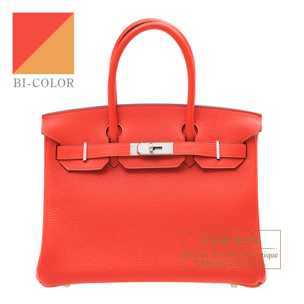 Hermes Birkin Verso bag 30 Rouge tomate/ Natural sable Clemence leather Silver hardware