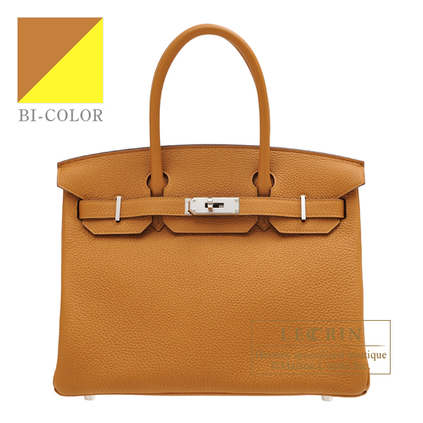 Hermes Birkin Verso bag 30 Caramel/ Lime Togo leather Silver hardware