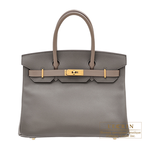 Hermes Personal Birkin bag 30 Etain/ Gris asphalt Epsom leather Matt gold hardware