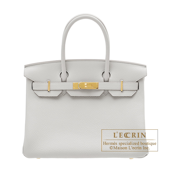 Hermes Birkin bag 30 Pearl grey Togo leather Gold hardware