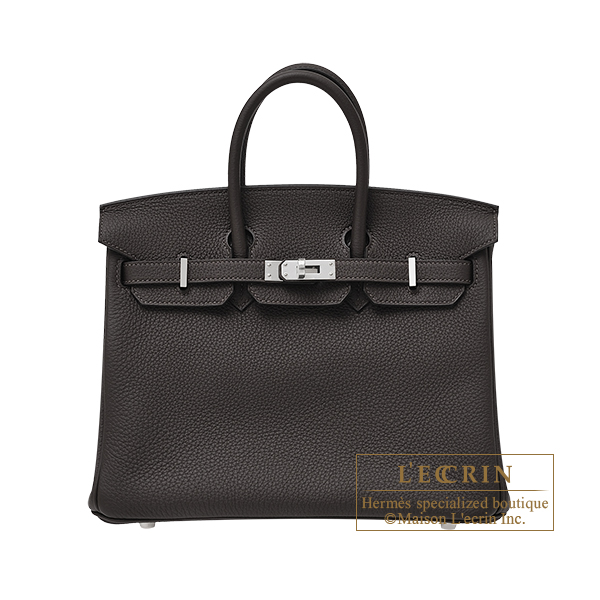 Hermes Birkin bag 25 Ebene Togo leather Silver hardware