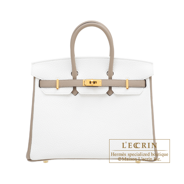 Hermes Personal Birkin bag 25 White/ Gris tourterelle Clemence leather Matt gold hardware