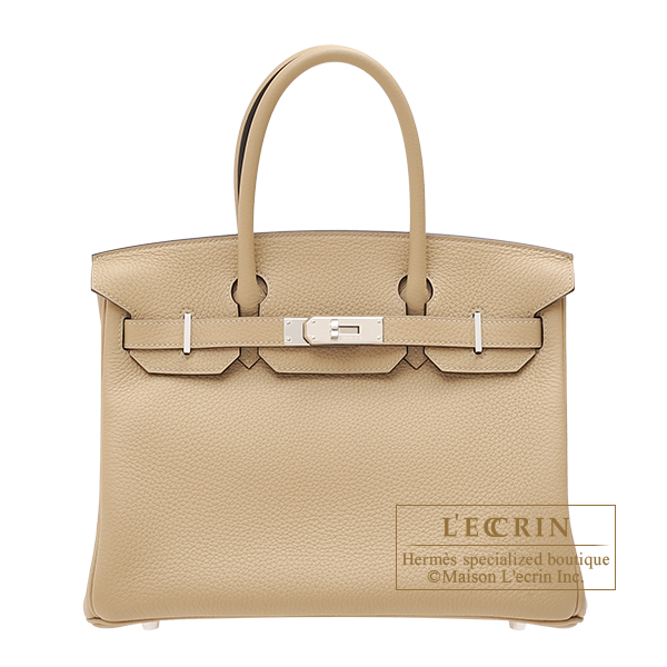 Hermes Birkin bag 30 Trench Clemence leather Silver hardware