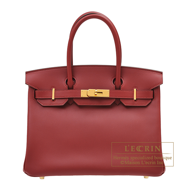 Hermes Birkin bag 30 Rouge vif Jonathan leather Gold hardware