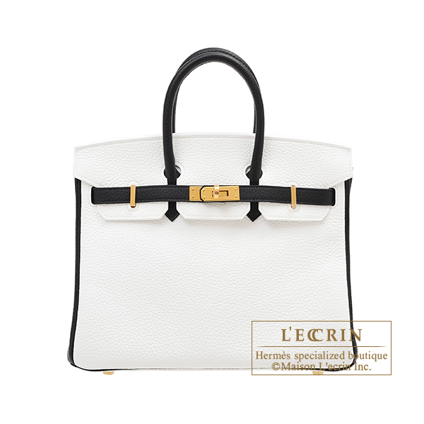 Hermes Personal Birkin bag 25 White/ Black Clemence leather Gold hardware