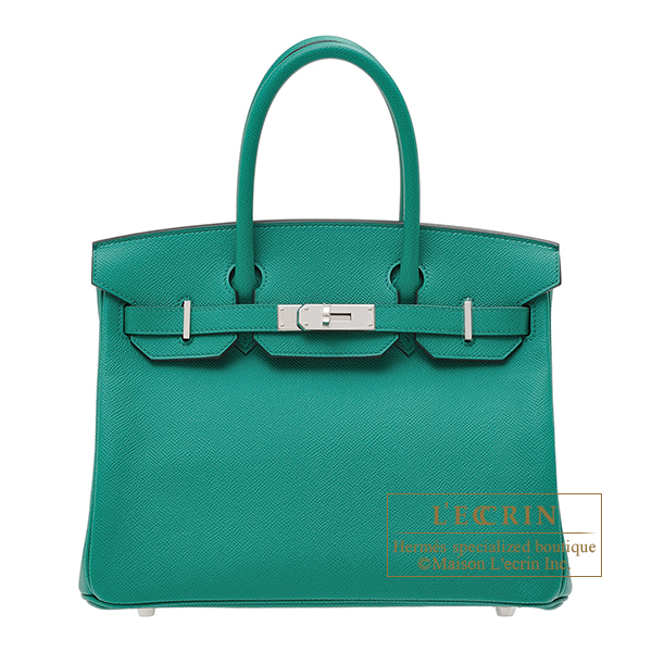 Hermes Birkin bag 30 Vert Jade Epsom leather Silver hardware