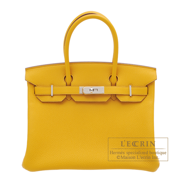 Hermes Birkin bag 30 Jaune ambre Togo leather Silver hardware