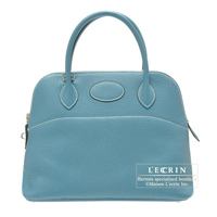 Hermes Bolide bag 31 Blue jean Clemence leather Silver hardware