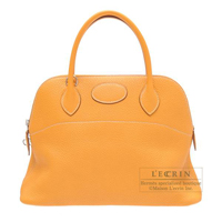 Hermes Bolide bag 31 Moutarde Clemence leather Silver hardware