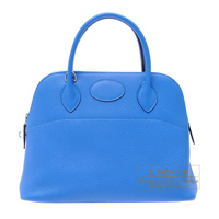 Hermes Bolide bag 31 Blue hydra Clemence leather Silver hardware