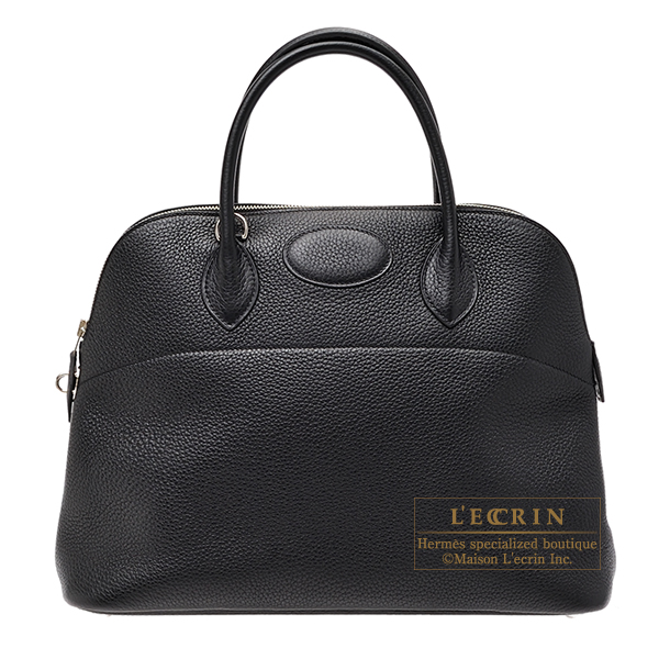 Hermes Bolide bag 35 Black Clemence leather Silver hardware