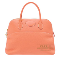 Hermes Bolide bag 35 Crevette Clemence leather Gold hardware
